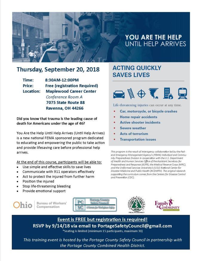 Until Help Arrives Flyer - Sept 20, 2018