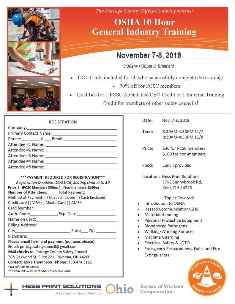 OSHA 10 Registration Form - NOV 2019
